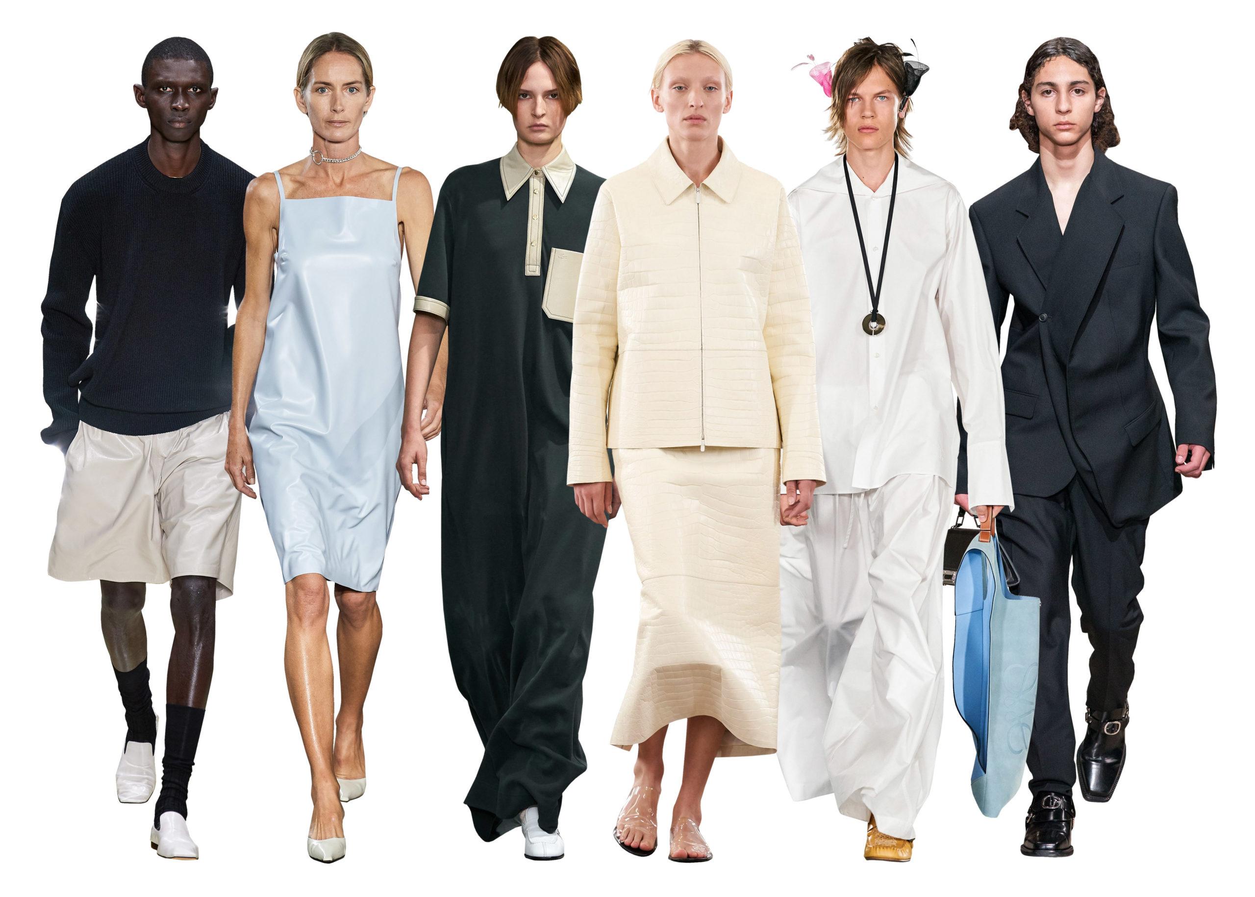 '90s minimalistic fashion, runway models