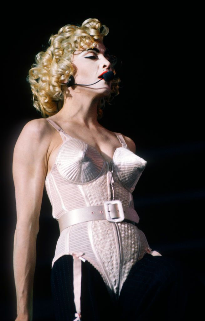Blonde Ambition Tour, Madonna, Feyenoord Stadion, De Kuip, Rotterdam, Holland, 24/07/1990. She is wearing a Jean Paul Gaultier conical bra corset