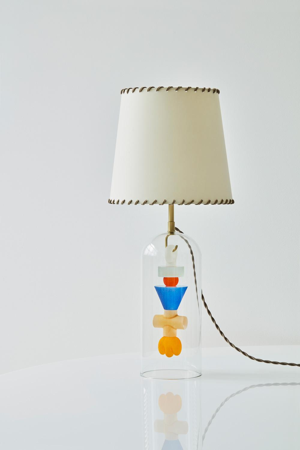 The 'Totem' lamp table with its colorful confections.