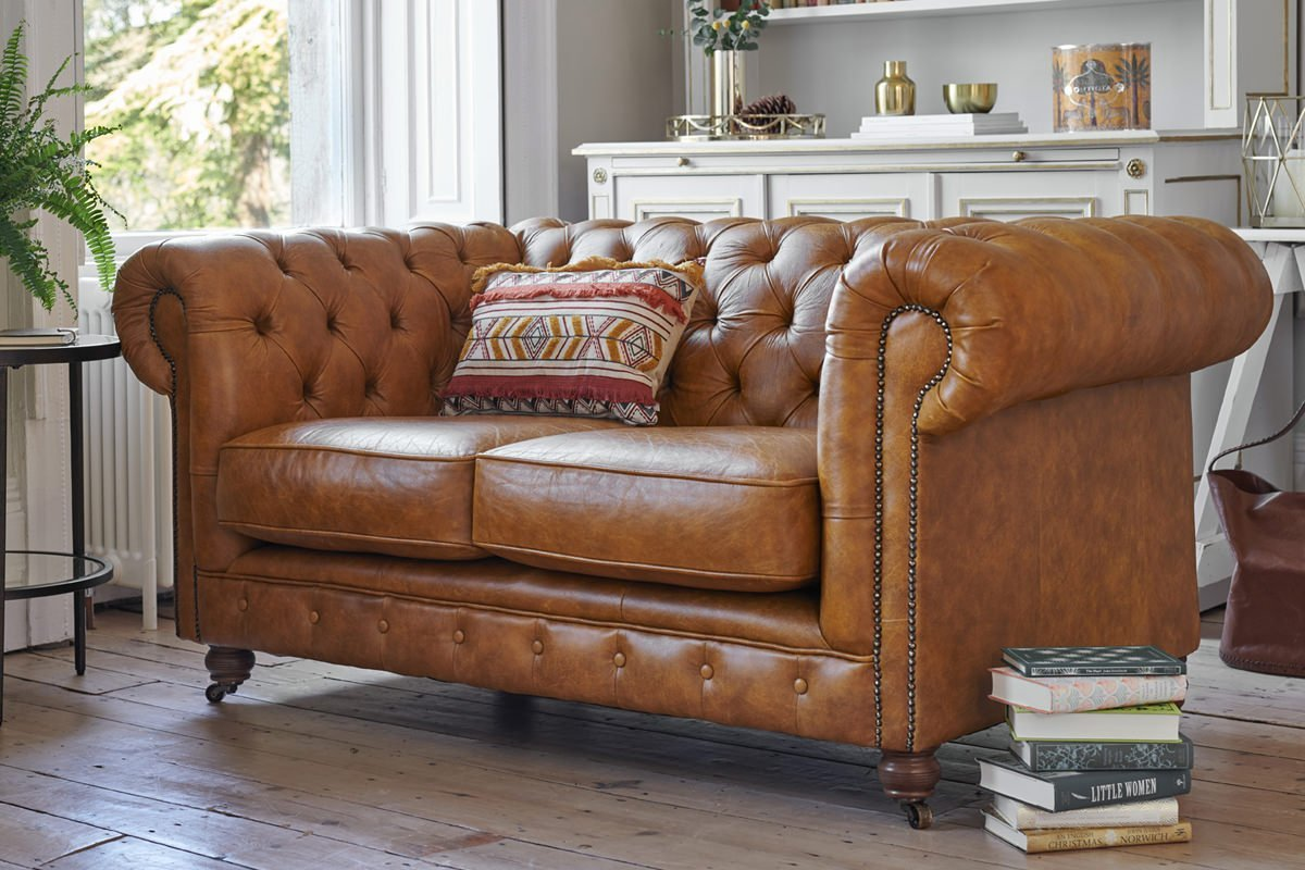 A luxurious brown leather couch