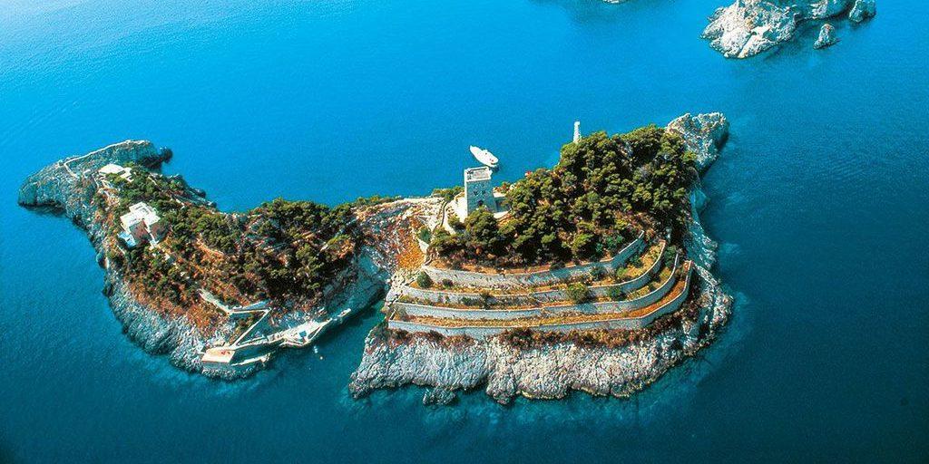 The dolphin-shaped island Li Galli