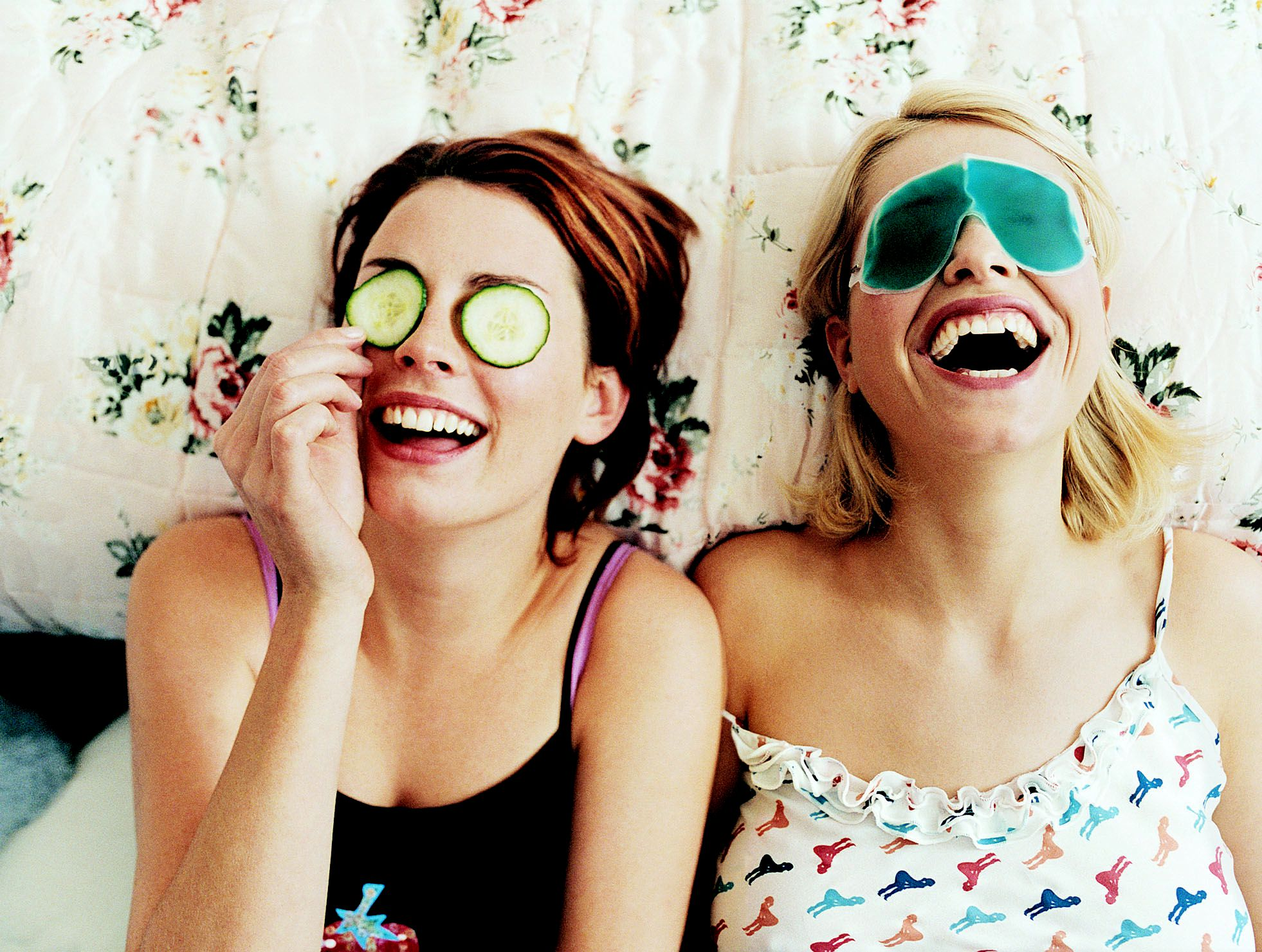 Friends having fun with face masks at home