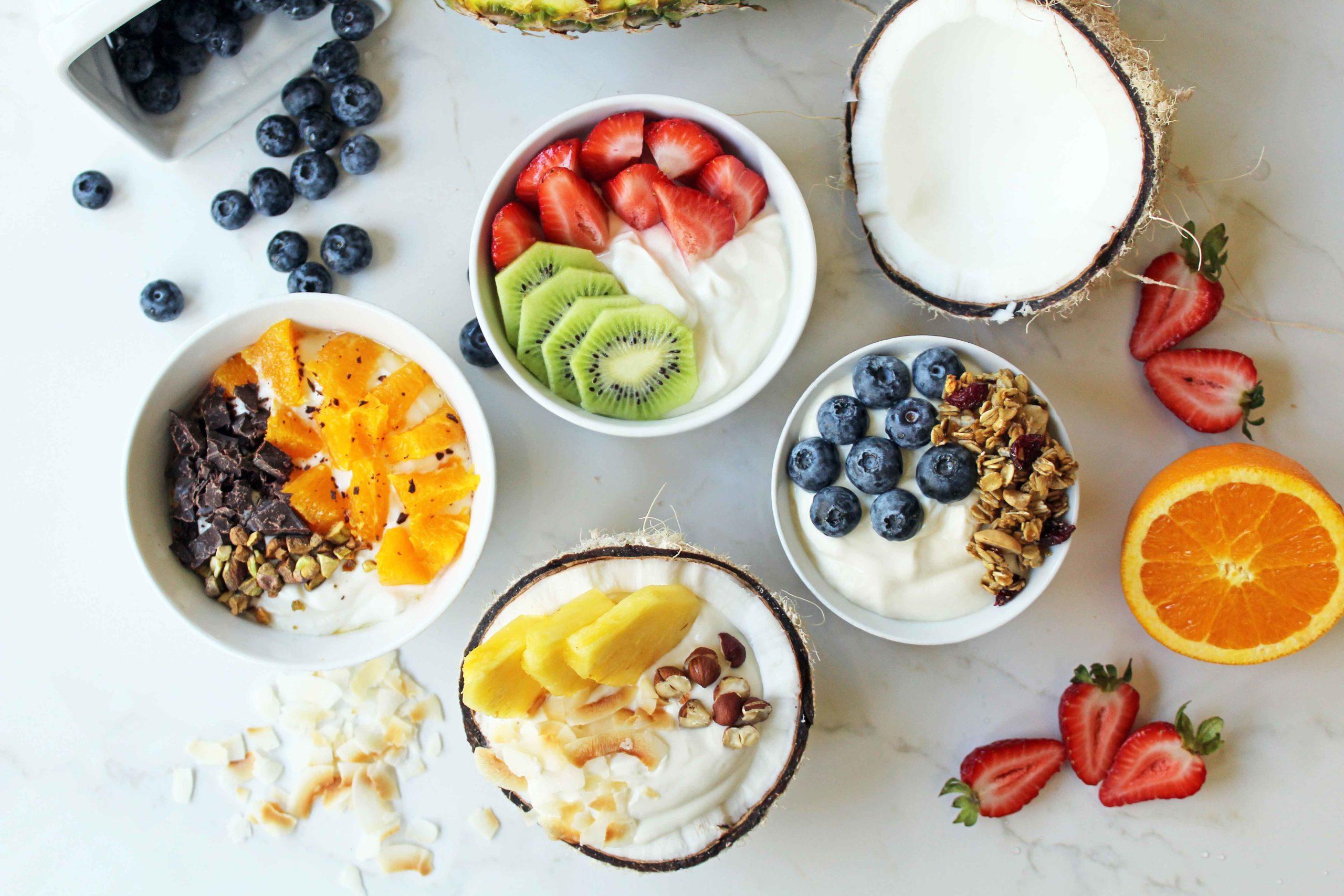 An arrangement of yogurt bowls