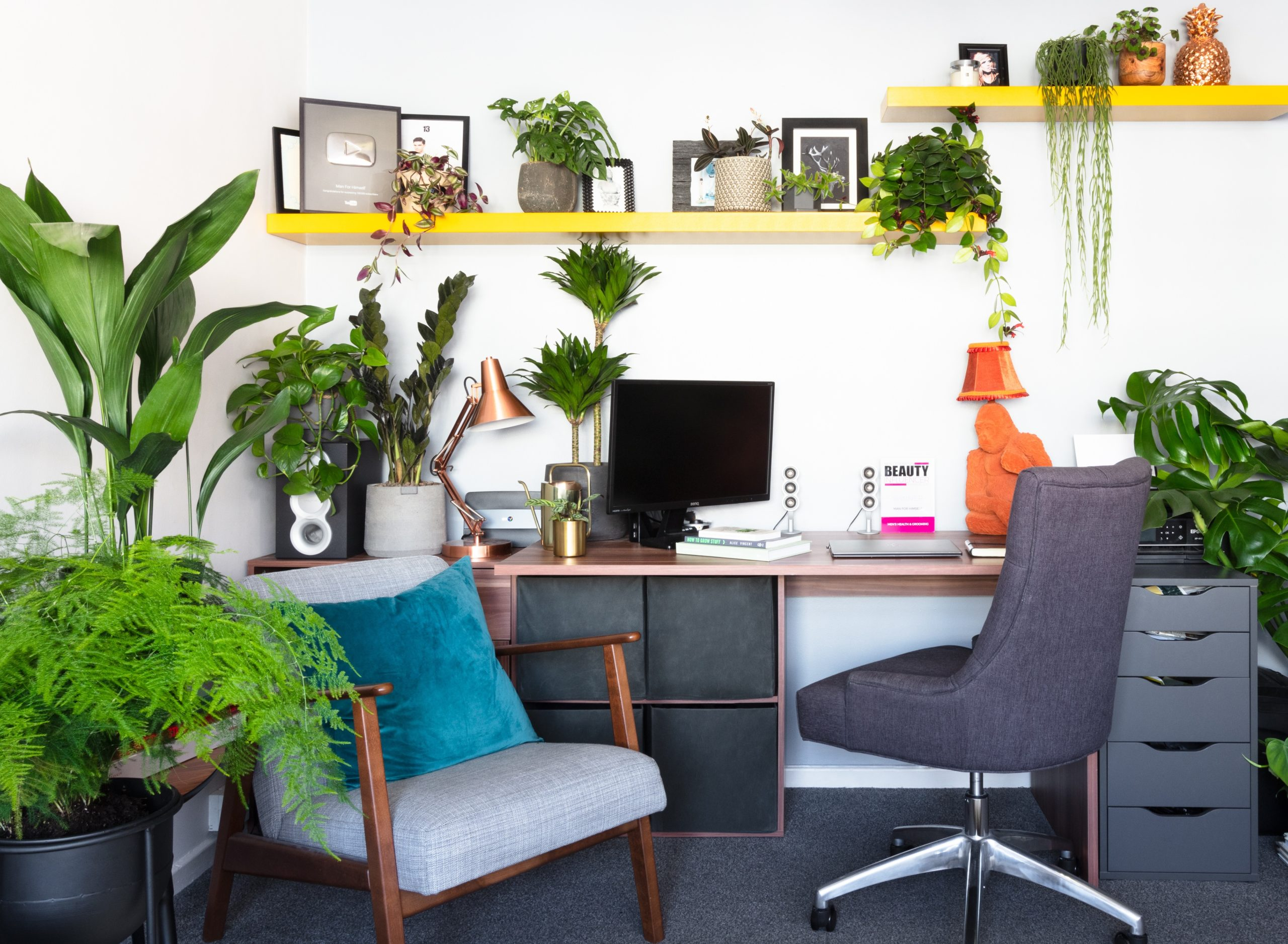 Home office with lots of plants