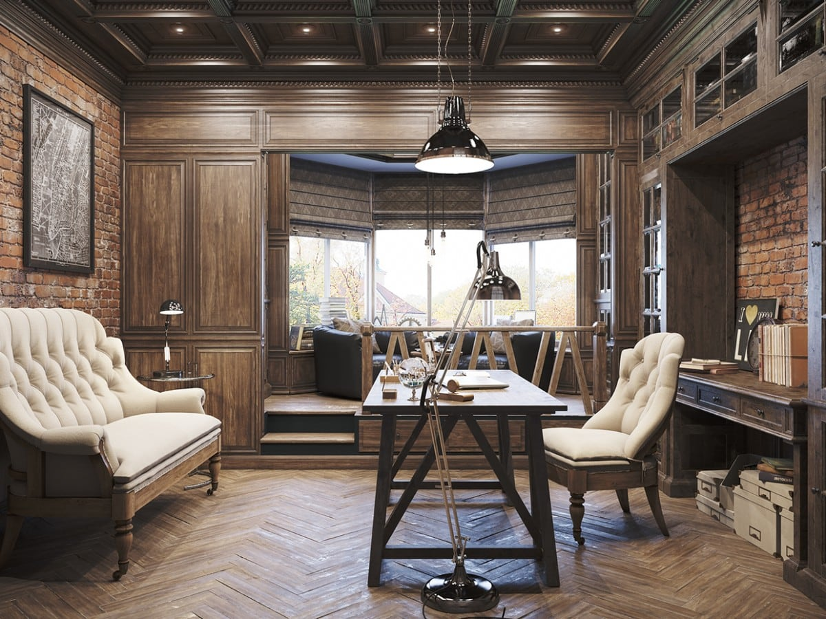 A blend of rustic and modern interior for a home office