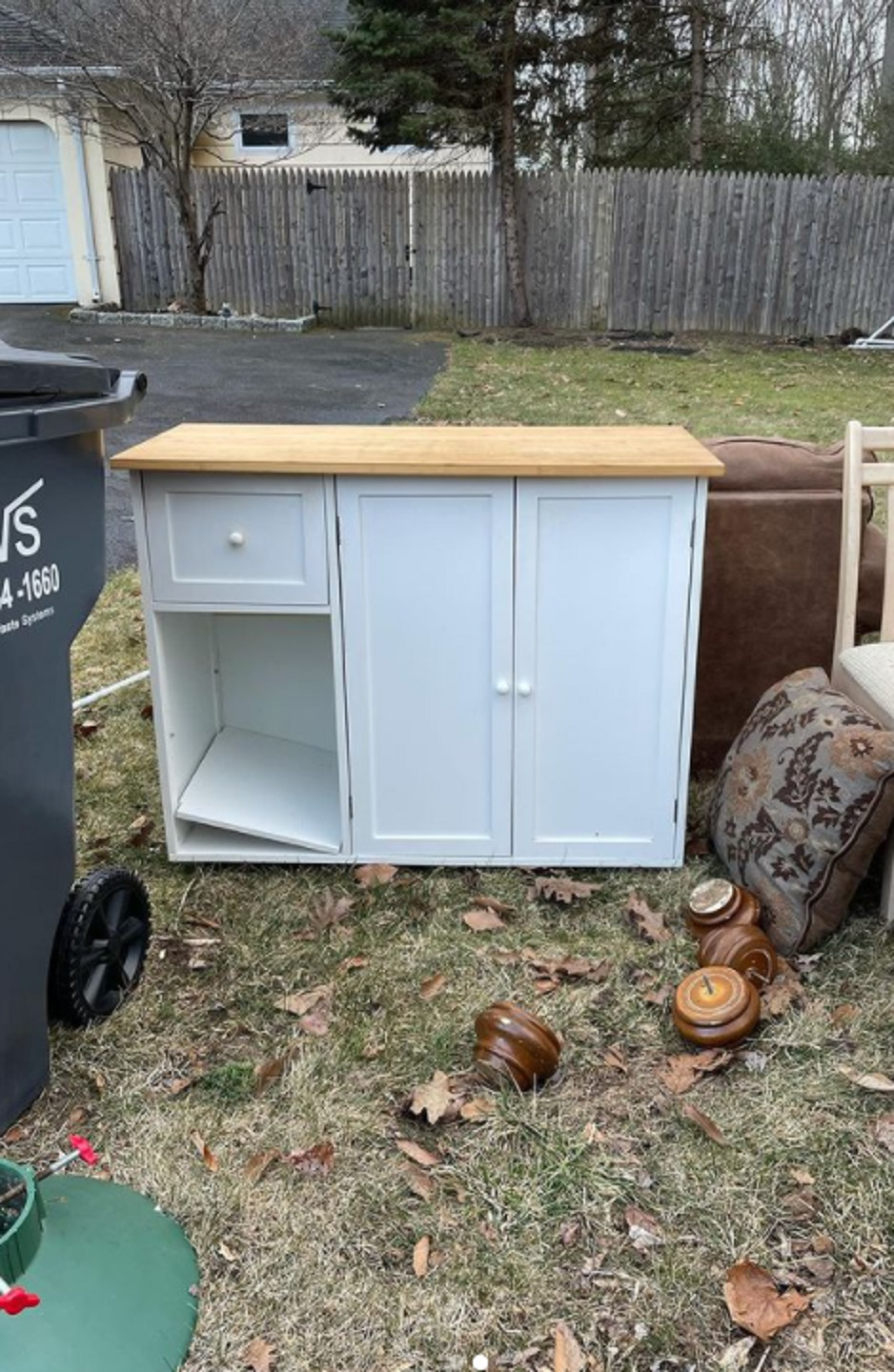 the old IKEA sideboard out in the trash