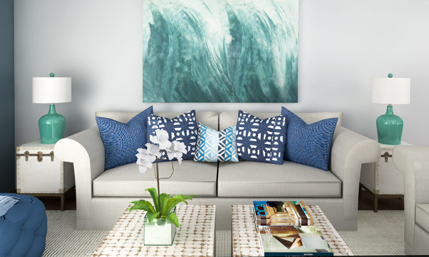 A home interior incorporating white and shades of blue