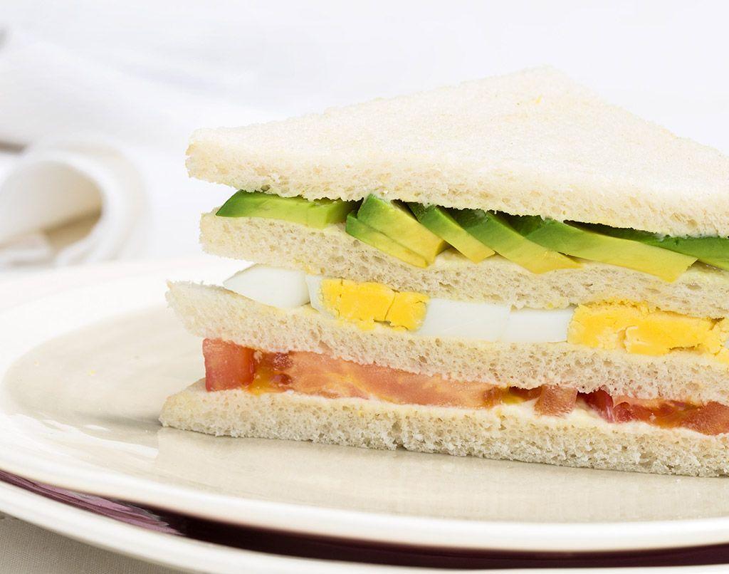 A sandwich triple up close