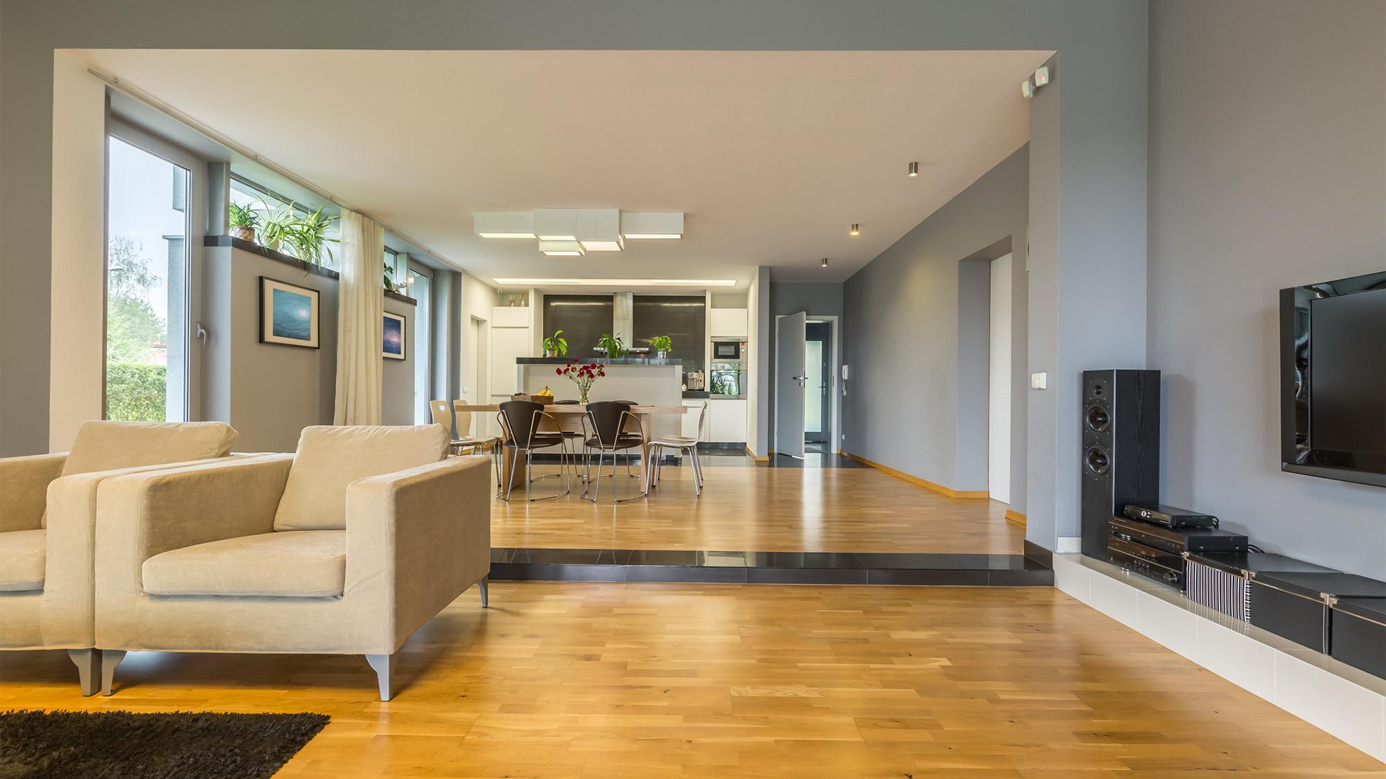 An interior with an open floor plan